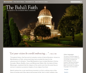 "The landing page for the ""What Baha'is Believe"" section of the new Bahai.org website. The revised site highlights two broad sections – ""What Baha'is Believe"" and ""What Baha'is Do"" – and features a new presentation of the Baha'i Reference Library."
